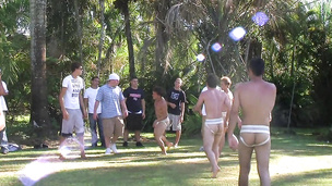 Horny frat boys have massive gay party in the backyard