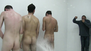 Nasty frat boys suck dick in the shower for initiation