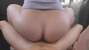 Big ass bottom bounces on massive schlong in the car