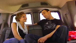 Nasty babe tricks a straight guy in the bang bus