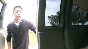 Cute latino straight guy has hardcore anal sex in car