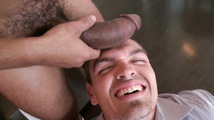 He goes down on that big black prick with pleasure