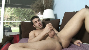 Good looking hunks jacks off his rock hard prick solo