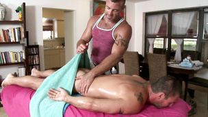 Oily studs smash butt and nuts on the massage table