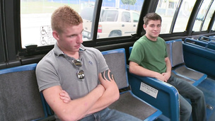 Skinny twinks jumps on hard wood in the public bus