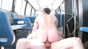 Two deviant cock suckers have anal sex in the bus