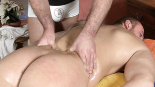 Two hung daddies drill each other on the massage table