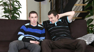 Two lusty dudes go down on each other on sofa
