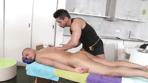 Bald muscular dude gets smashed super hard on massage table
