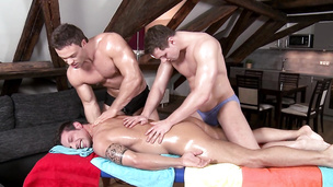 Wild knob jockeys have a threesome on the massage table