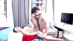 He enjoys getting ass fucked by his big dicked masseuse