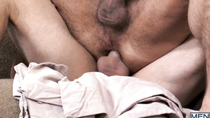 Hunky Aspen and Dirk Caber dudes fuck doggy style raw