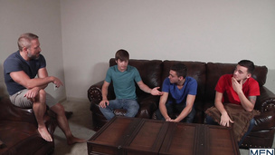 Hung daddy fucks with his young lovers on the sofa