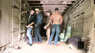 Barn orgy where cowboys let loose and fuck bareback style