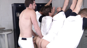 Locker room orgy where the twink gets it the hardest