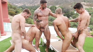 Gay orgy and the dudes are outdoors doing it raw
