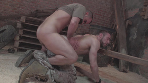 Dirty  army men Damien Crosse and Scott Carter fuck hard