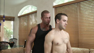 Buff Corey Martin desires to blow Matthew Rush's hard dick