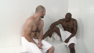 Interracial sauna fuck with David Chase and randy Diesel Washington