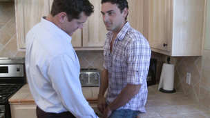 Jeremy Bilding and Parker London fuck in the kitchen raw