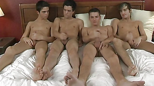 Irresistible gay boys enjoy rimming in a wild horny orgy