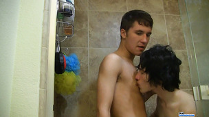 Kind-hearted young twink takes a sexy shower with his lover