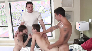 Fit twink loves riding and fucking two of his friends